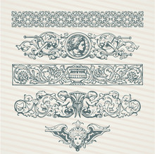 Decorative Elements In Vector Collection With Retro Ornament Pattern In Antique Roman And Baroque Style