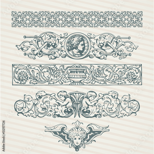 Fotografija Decorative elements in vector collection with retro ornament pattern in antique