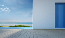 Luxury Sea View Swimming Pool In Modern White Beach House - 3d Rendering