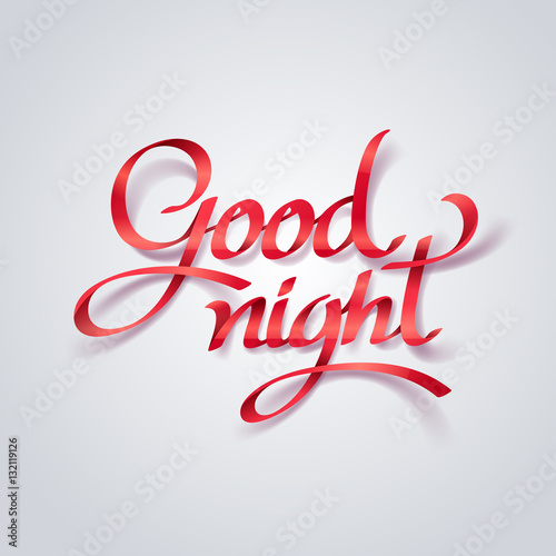 Red Ribbon Of Goodnight Calligraphy Hand Lettering Buy This Stock