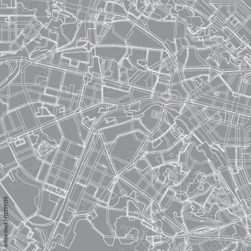 Plakat szaro - biała wektorowa mapa Kijowa. Plan miasta Kijów