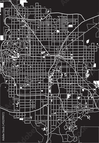 Fotografie, Obraz Black - white vector map of Las Vegas, USA.