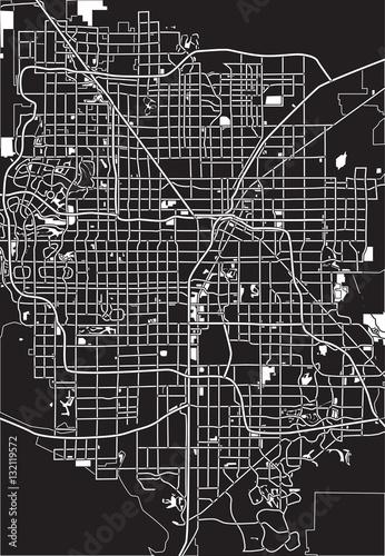 Photo Black - white vector map of Las Vegas, USA.