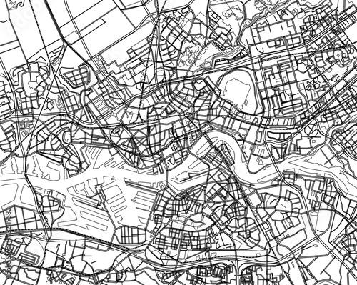 Cadres-photo bureau Rotterdam Black - white vector map of Rotterdam, Netherland. City plan Rot