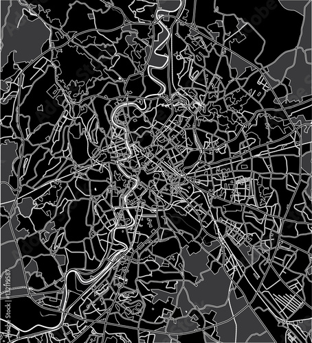 Cuadros en Lienzo Black - white vector map of Rome Italy. City plan Rome.