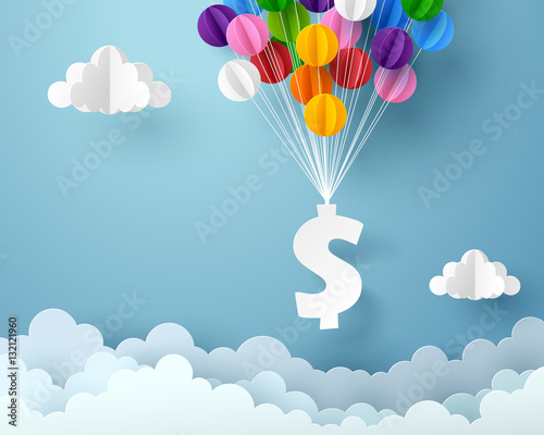 Vászonkép Paper art of dollar sign hanging with colorful balloon