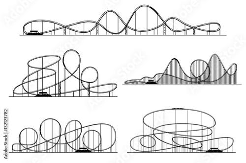 Canvas Print Roller coaster vector silhouettes