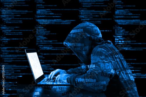 Fotografía  Hoody hacker cybersecurity blue computer code information securi