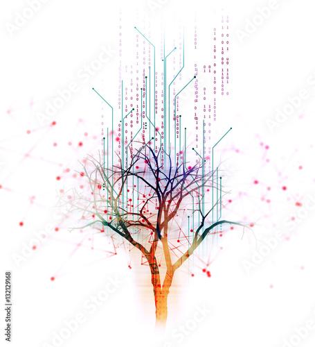 cyfrowy drzewo na technologii tle ilustracji