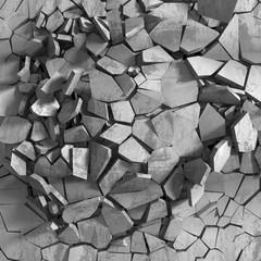 Fototapeta Concrete chaotic explosion demolition abstract background