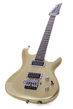 Classic Gold Electric Guitar Isolated Against White Background