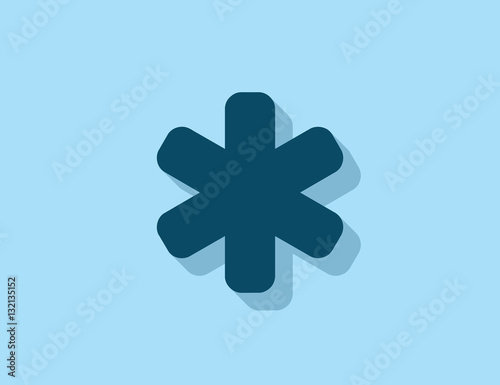 Vector flat asterisk symbol with long shadow Wallpaper Mural