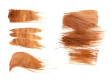 Set Of Bronze Paint Strokes