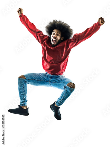 Fotografía  african man jumping happy silhouette isolated