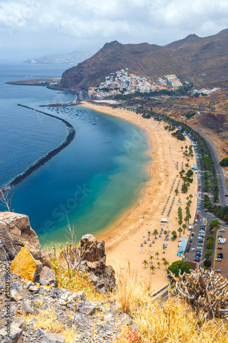 Deurstickers Canarische Eilanden Aerial view on Teresitas beach near Santa Cruz,Tenerife, Canary islands, Spain