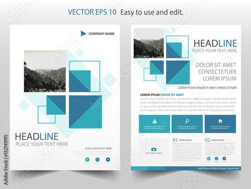 blue square vector business proposal leaflet brochure flyer template design book cover layout design