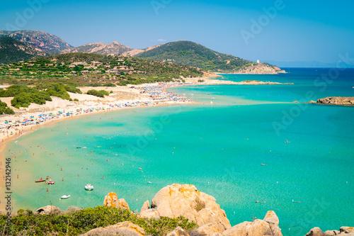 Photo Panorama of Chia coast, Sardinia, Italy.