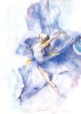 Baleriny dancingowy akwarela obraz odizolowywający na białym tła kartka z pozdrowieniami - 132143185