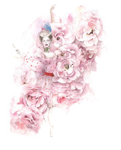 Ballerina Dancing Flowers Rose...