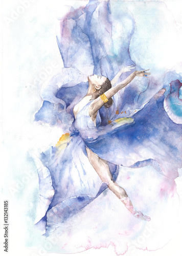 Ballerina dancing watercolor painting isolated on white background greeting card