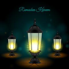 Ramadan Kareem Greetings with Set of Lanterns in a Dark Glowing Background.