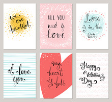 Vertical Valentine's Cards With Typographic Design Collection. Vector Illustration.