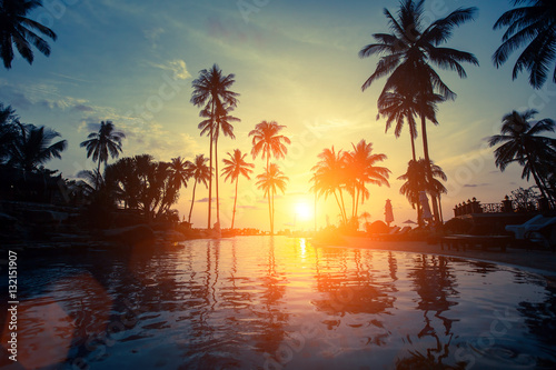 Beautiful sunset among the palms on a tropical beach.