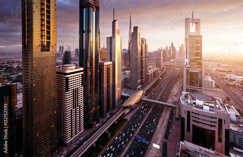 Poster Moyen-Orient Dubai skyline in sunset time, United Arab Emirates