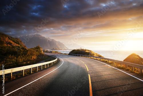 Garden Poster Scandinavia oad by the sea in sunrise time, Lofoten island, Norway
