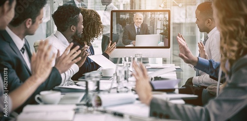 Fotografía  Business people looking at screen during video conference