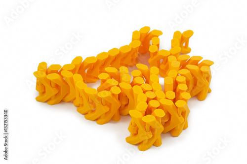 Fotografia  Orange Chain Shaped Object Printed With 3D Printer