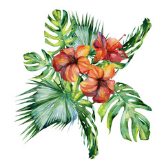 Obraz Watercolor illustration set of tropical leaves and hibiscus, dense jungle. Banner with tropic summertime motif may be used as background texture, card or cloth illustration, textile design.