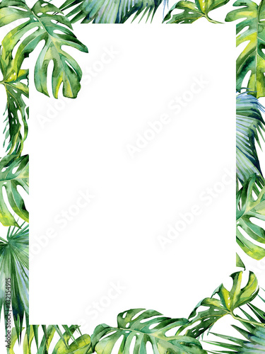 Fototapeta Watercolor Illustration Of Tropical Leaves Dense Jungle Hand Painted Banner With Tropic Summertime Motif May Be Used As Wedding Or