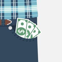 Money In Pocket. Vector