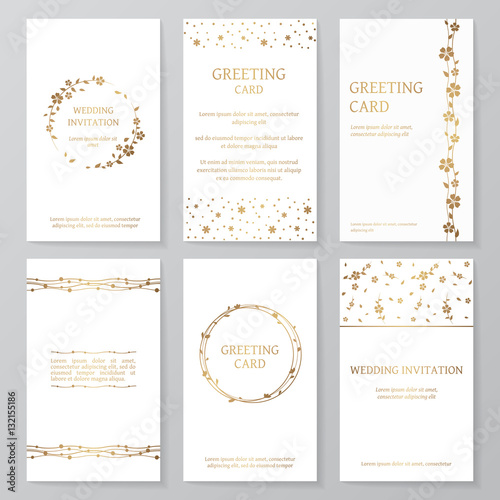 Set of six retro templates with gold floral ornament vector vintage set of six retro templates with gold floral ornament vector vintage wedding invitations and greeting stopboris Image collections