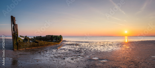 Canvas Print Panorama of a shipwreck in New Jersey