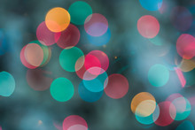 Christmas Bokeh Background With Red And Orange Circles