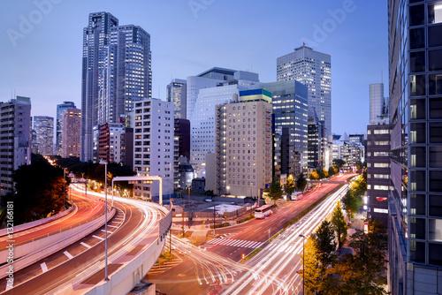 Plakat Pejzaż miejski przy półmrokiem w Shinjuku okręgu, Tokio, Japonia