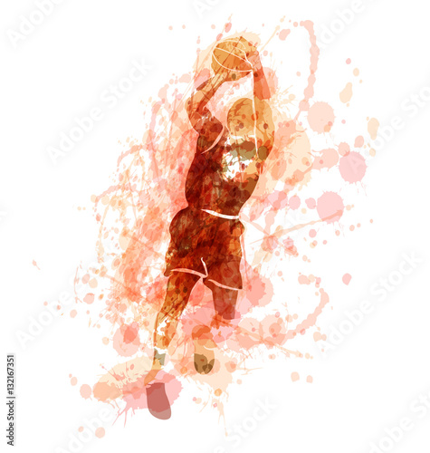 Colored vector silhouette of a basketball player. Vector illustration © onot