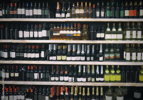 Poster de jardin Bar Alcohol department in supermarket