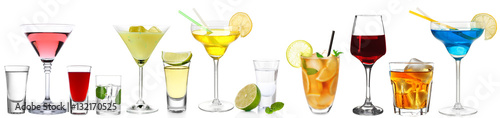 Deurstickers Alcohol Delicious cocktails on white background