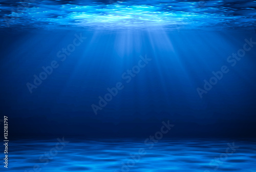 Fotografija Blue deep water horizontal abstract natural background.