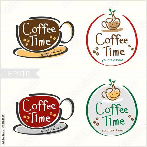 Tuinposter Vintage Poster Set of hand drawn style coffee badge label logo design