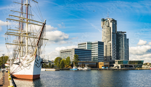 fototapeta na lodówkę Gdynia, Poland-September 2016, a skyscraper in the port of Gdynia