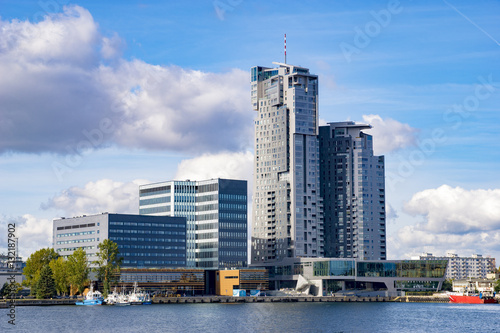 Obraz Gdynia, Poland-September 2016, a skyscraper in the port of Gdynia - fototapety do salonu