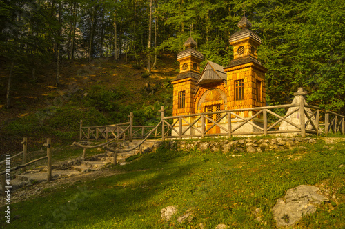 Wooden Russian chapel on Vršič Pass, which he visited in 2016, Vladimir Putin-Sl Canvas Print