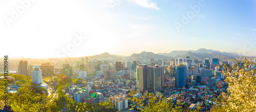 In de dag Seoel Seoul Downtown Aerial View Panoramic Cityscape