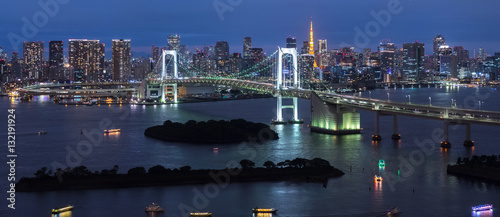 Fototapety, obrazy: Panorama of Rainbow Bridge at night, Tokyo, Japan