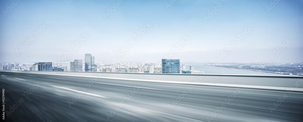 Fototapeta modern office buildings in hangzhou new city from elevated road