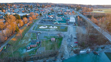 City Of Arlington, Washington United States Aerial Perspective View On A Cold Winter Day At Sunset